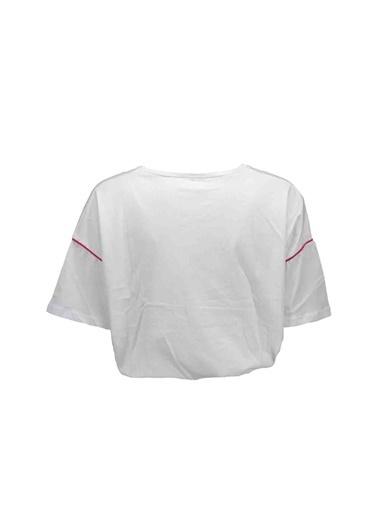 Collezione Collezione Crop Top  Şerit Detaylı  Kadın Tişört Beyaz